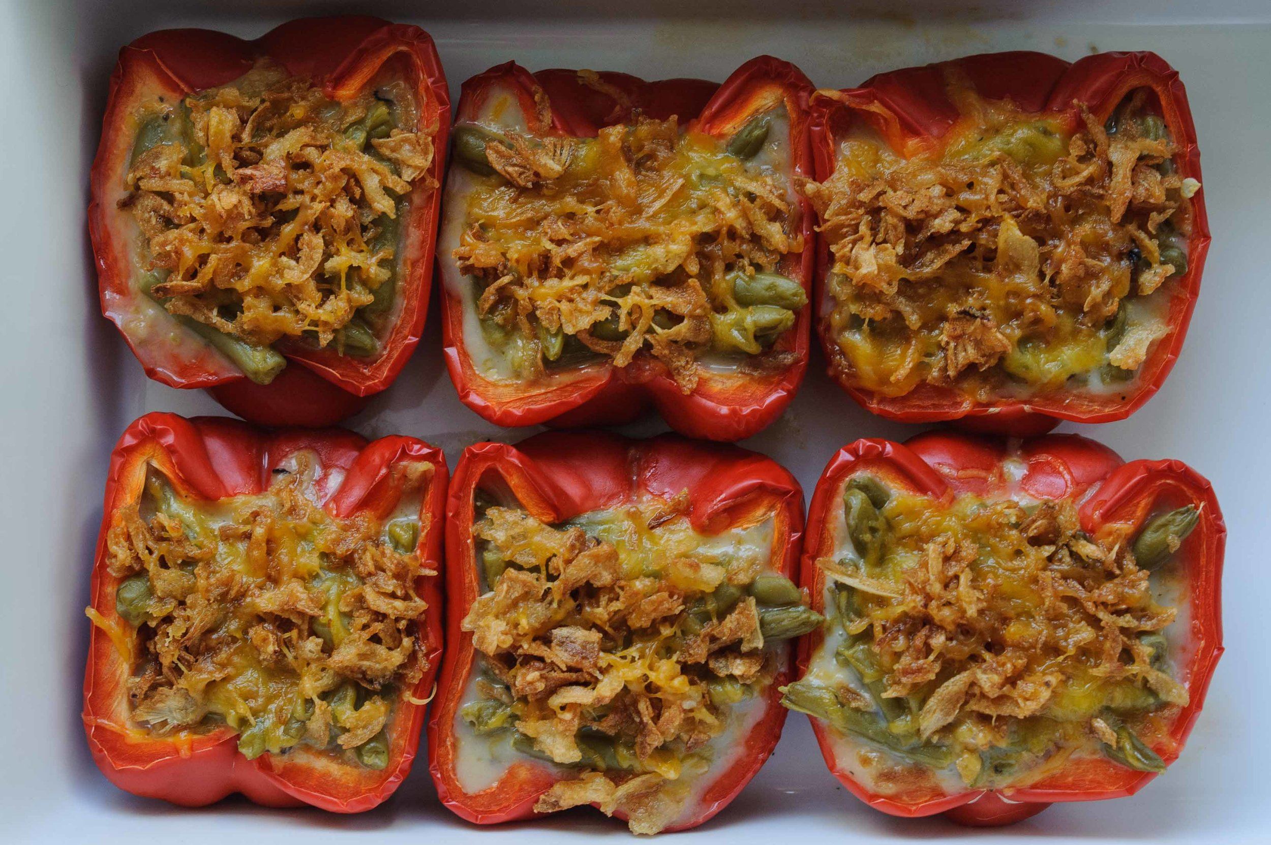 Green Bean Casserole Stuffed Peppers