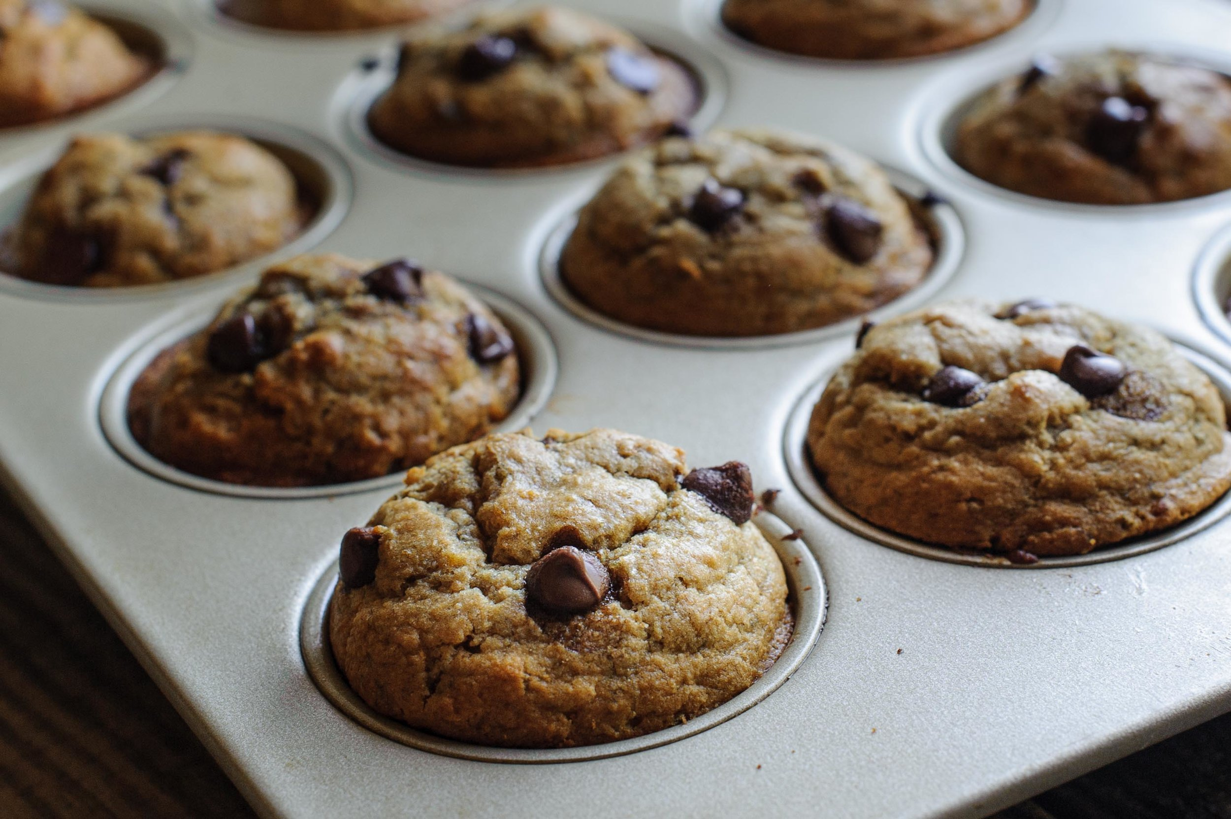 Easy, Healthy Banana Chocolate Chip Muffins