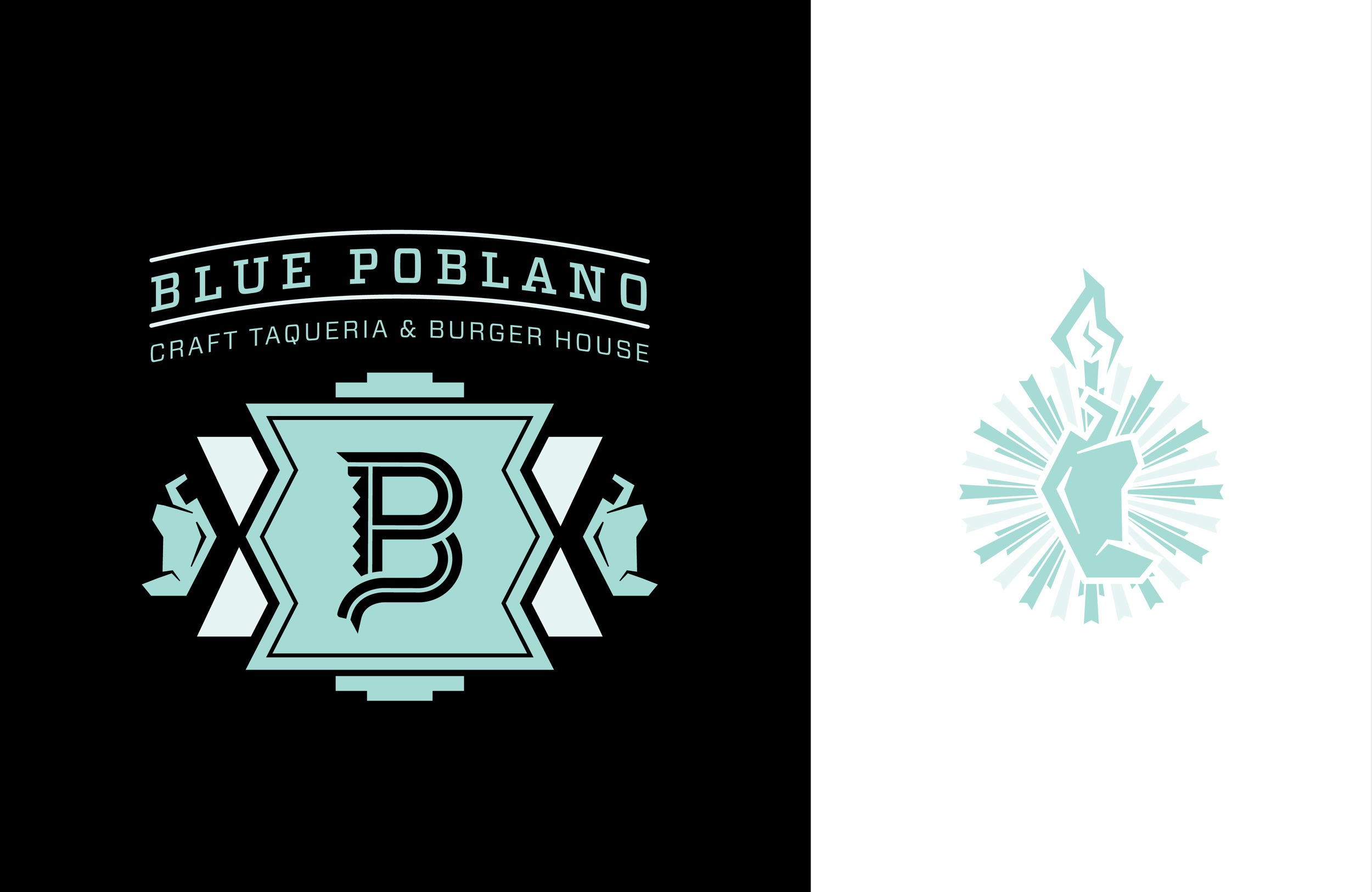 BLUE POBLANO LOGO: Two Color version of the Blue Poblano lock up.
