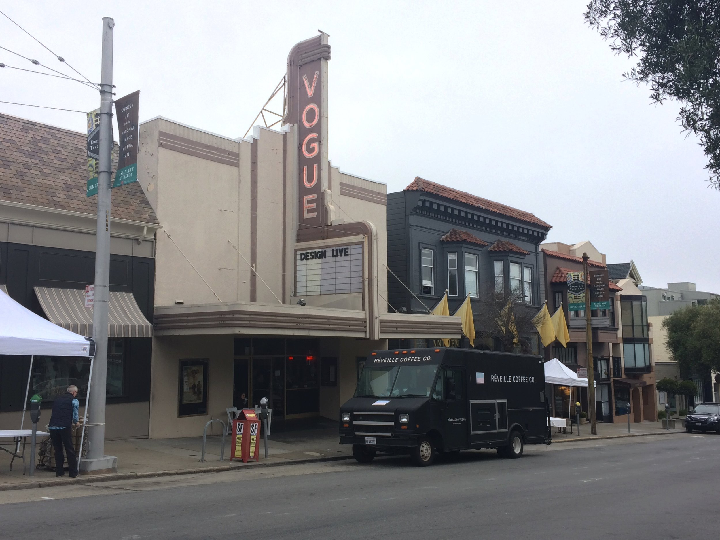 A look at designLIVE's venue, Vogue Theatre on Sacramento Street, with morning coffee provided by Réveille Coffee Co.
