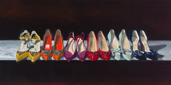 """""""Look Mommy, a Beautiful Rainbow!"""", 30"""" x 60"""", hand-enhanced limited edition giclée on canvas, by Amy Nelder"""
