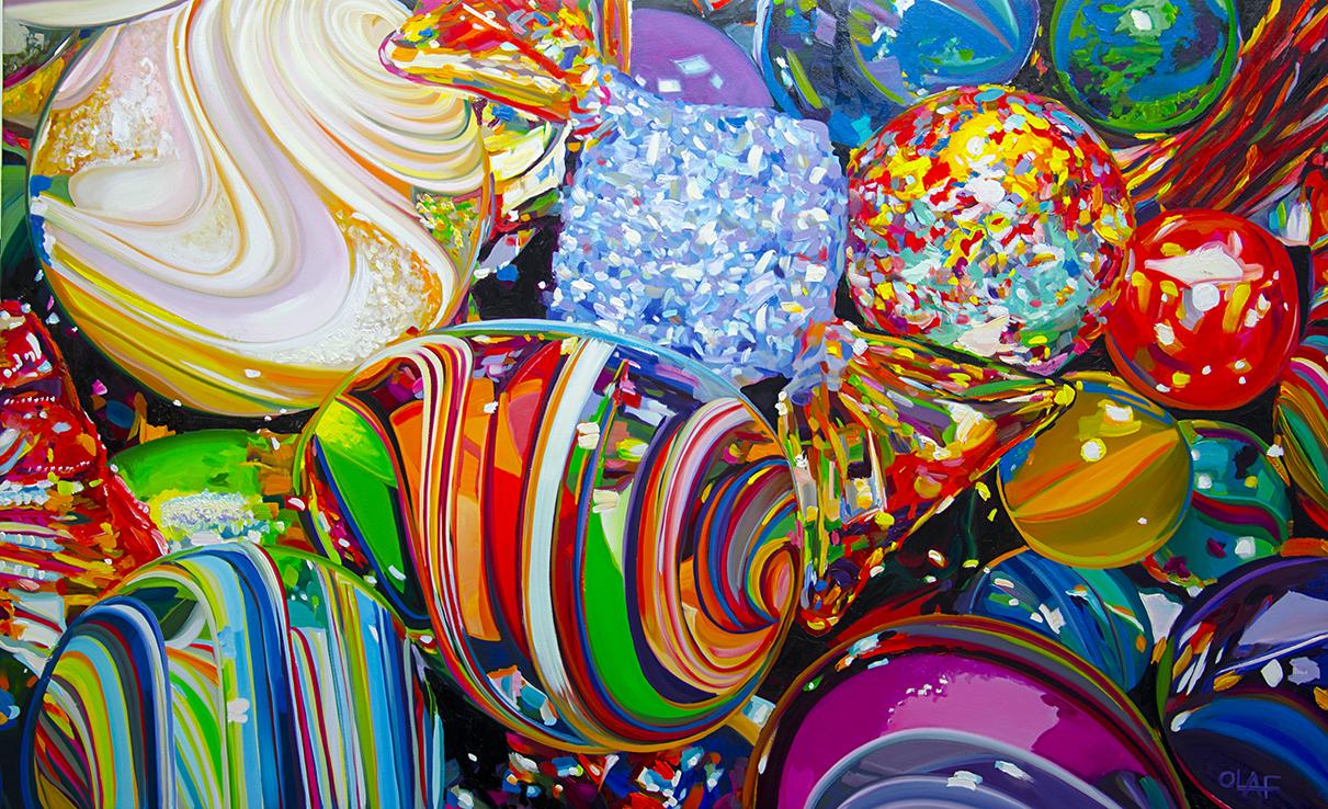 "Olaf Schnieder,  Alphabet Soup Sandwich , 30"" x 60"", oil on canvas, courtesy of Chloe Gallery"