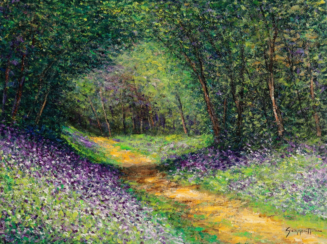 "James Scoppettone,  Secret Garden Path , 18""x24"", oil on canvas, courtesy of Chloe Gallery"