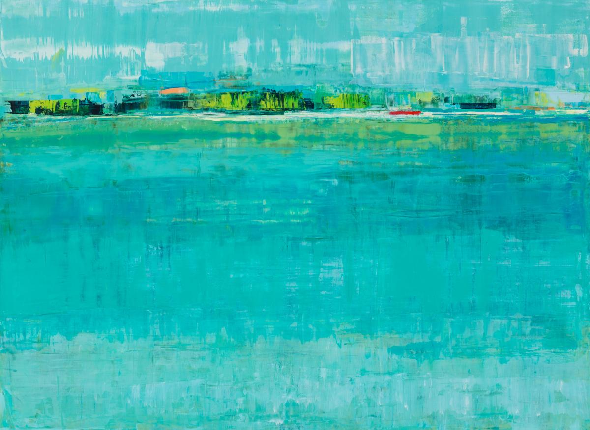 "Suzy Barnard,  Paradise , 44"" x 60"", oil on panel,courtesy of Simon Breitbard Fine Arts"