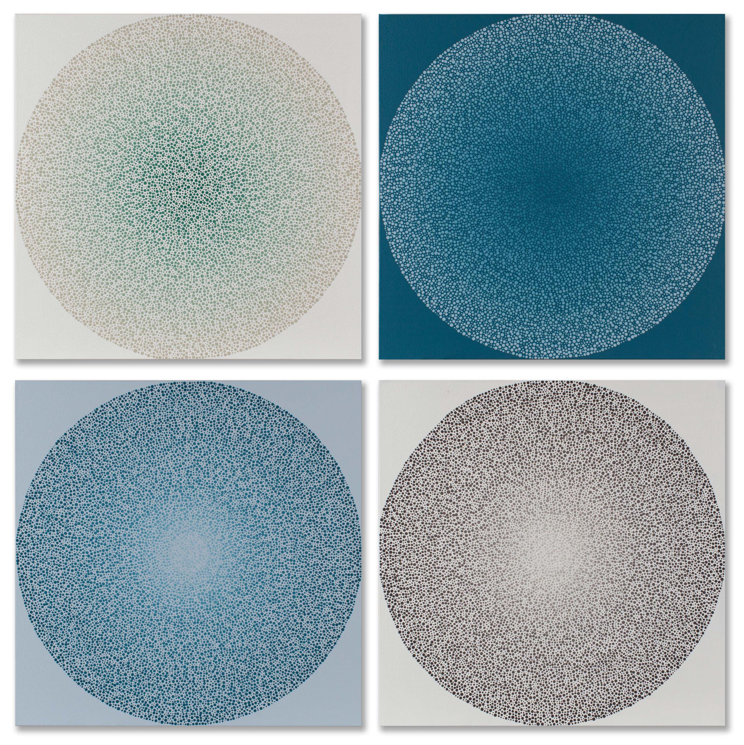 "AJ Oishi,  Layers of Self Quadriptych , 60"" x 60"", acrylic on canvas, courtesy of Simon Breitbard Fine Arts"