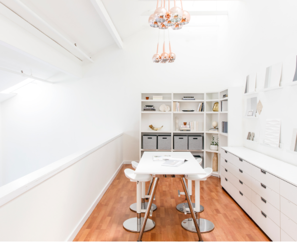 The incredibly chic office of  Lane McNab Interiors . Photographer:  Aubrie Pick