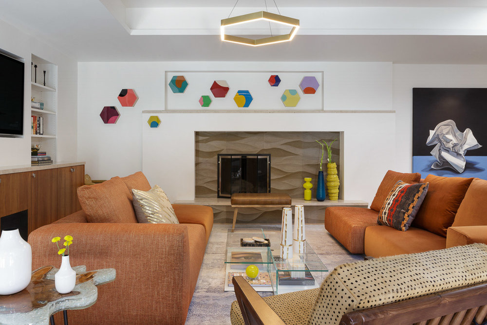 Textural Mid-Century Living Room by  Ann Lowengart Interiors . Photographer:  David Duncan Livingston