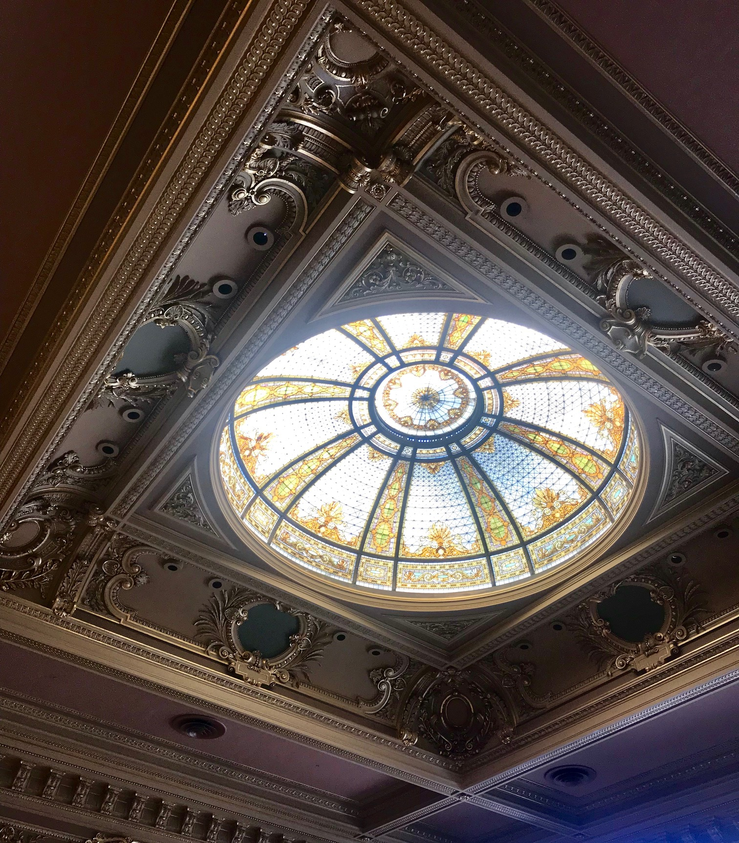 Ornate stain-glass dome