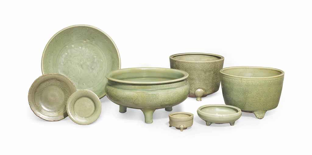 Eight Chinese Longquaun Celadon Wares Ming Dynasty (1368-1644) from the estate of Anthony Hail, image from Christie's