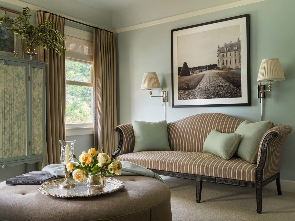 Instead of buying a new sofa,  Martin Young Design  reupholstered their client's heirloom settee. Photo: Jose Manuel Alorda.