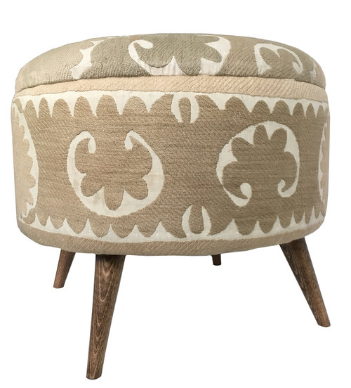Lotus Bleu  repurposed a vintage cotton suzani from Samarkand, by covering an ottoman it for their Istanbul Market Collection