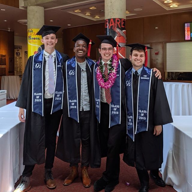 We want to wish an ENORMOUS congratulations to our four amazing  seniors JP, Ramsey, Leo, and Roman on graduating yesterday! You four have done so much for the O's over the years and we are so blessed to have had you as impactful leaders and amazing friends within the group. WE LOVE YOU! You guys will do incredible things! 💙