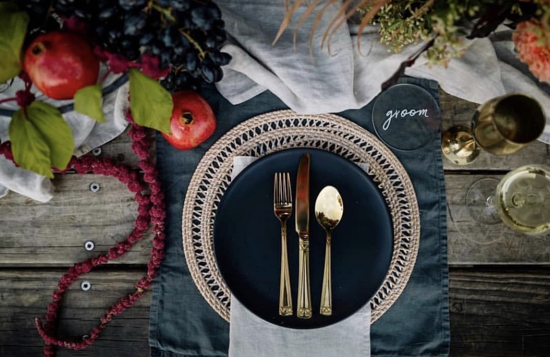 Our Slate Grey Napkins as placemats, Natural Napkins and Natural Runners. Styling by  The White Wedding Club  and  Wild and Whim , Florals by  On My Hand , Coaster by  Paper Darling , image by  The Official Photographers .