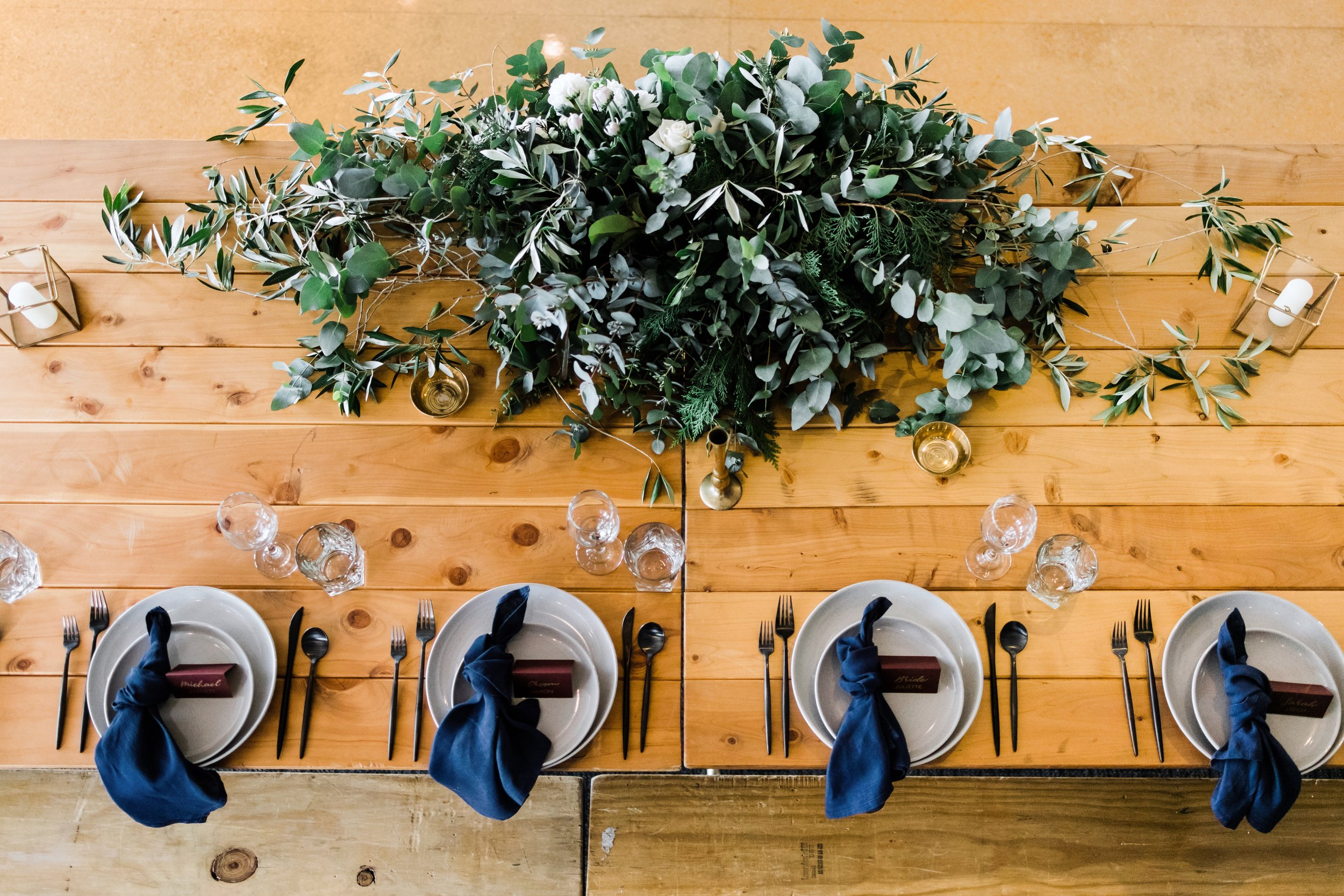 Our Indigo Napkins styled by  Rock & Honey Installations , shot by  Wonder Ferris , tables by  Arkade