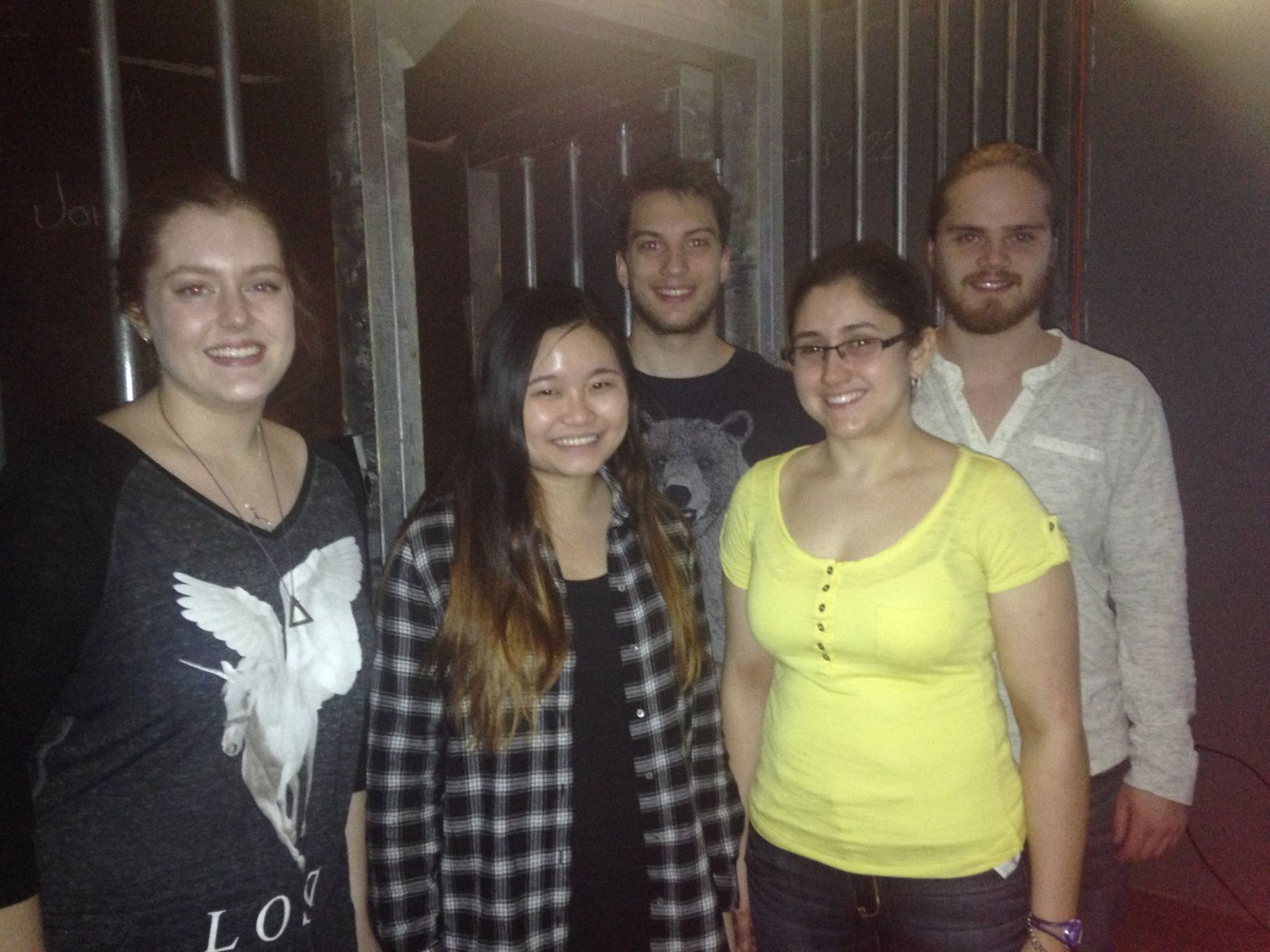 Fall 2015, Group trip to Escape Manor. Left to Right: Quinn, Jade, Nik, Delphine, Ryan