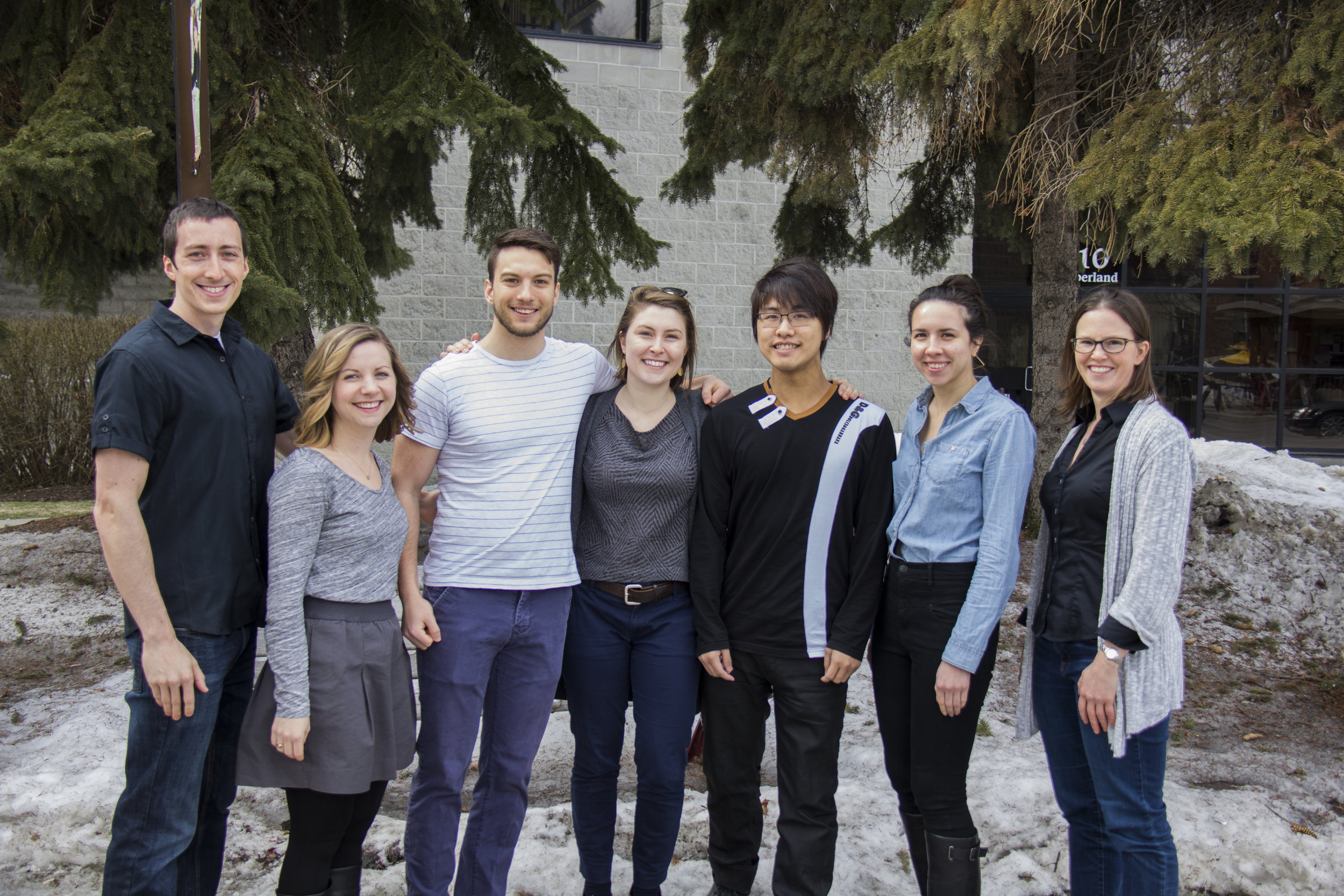February 2017. Left to Right: Mark, Kelli, Nik, Amanda, Michael Min Way, Rebecca, and Alison. Photo credit: Marc Bélanger