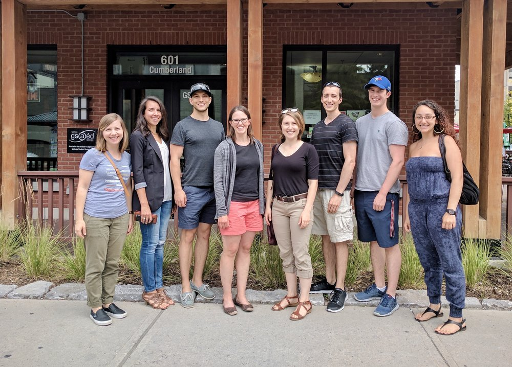Summer 2017. Left to Right: Kelli, Rebecca, Nik, Alison, Amanda, Mark, Tyler, Shaina (missing: Shobhi)