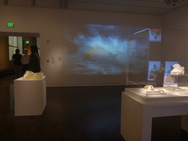 """Proximities 3, Left: Leslie Shows's """"Cantra"""" (nd), right, Rebecca Bolinger's """"Untitled""""(2013), and in the background is Byron Peters's """"Untitled"""" (2012)"""