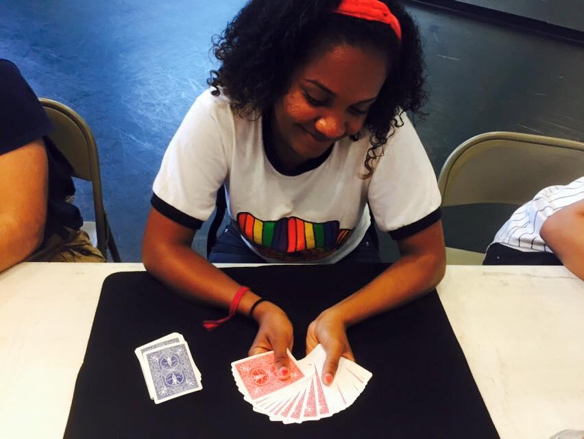 Tamber Walls showing off her card skilz
