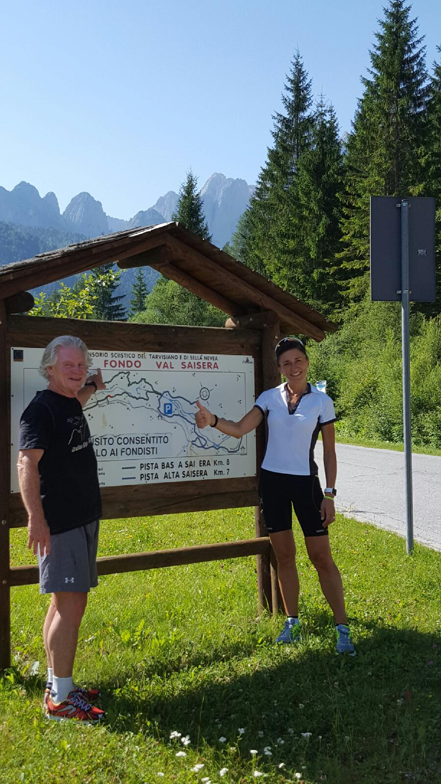 Kelly and Gabriella look at the map of the cross country ski trails in the Valley.