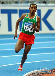 Bekele runs the curve. He is the record holder in 5000m and 10000m.