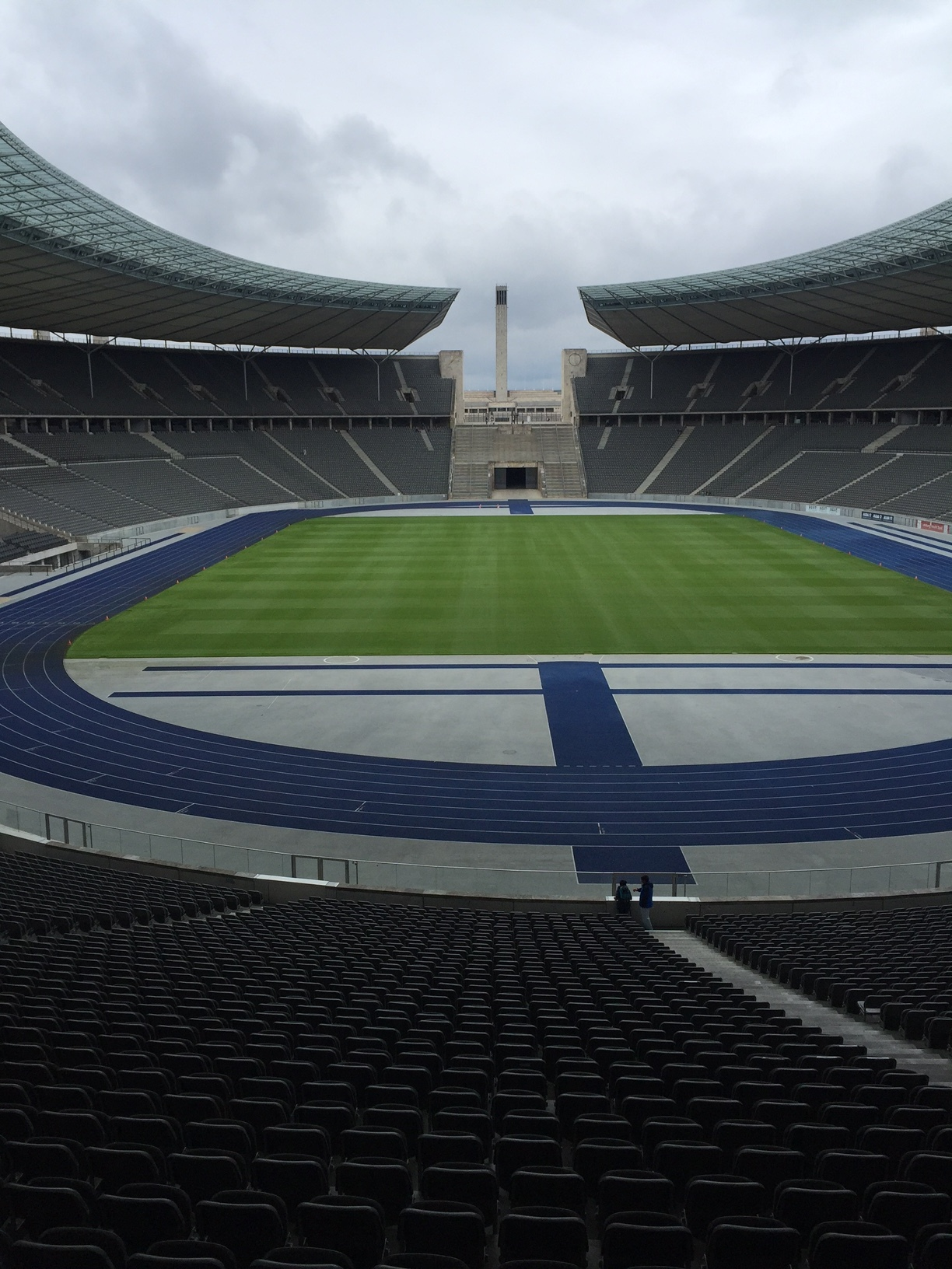 This is as close as I came to the Blue track in the beautiful Olympiastadion where Usain Bolt broke the World Records in the 100m and 200m in 2009.