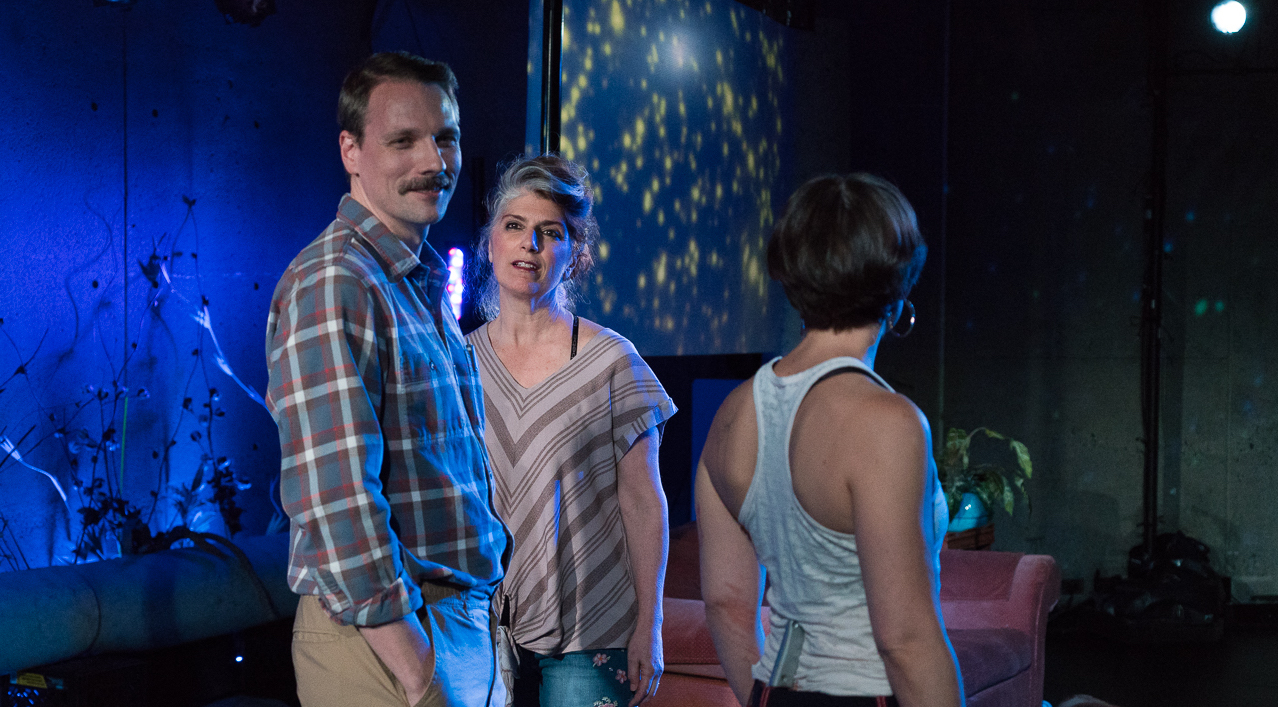 Pathetic. minor theater. Abrons 2019. sound design and the role of Ted Goader.  photo by Elke Young  https://www.nytimes.com/2019/06/16/theater/review-in-pathetic-a-retelling-of-racine-love-hurts.html