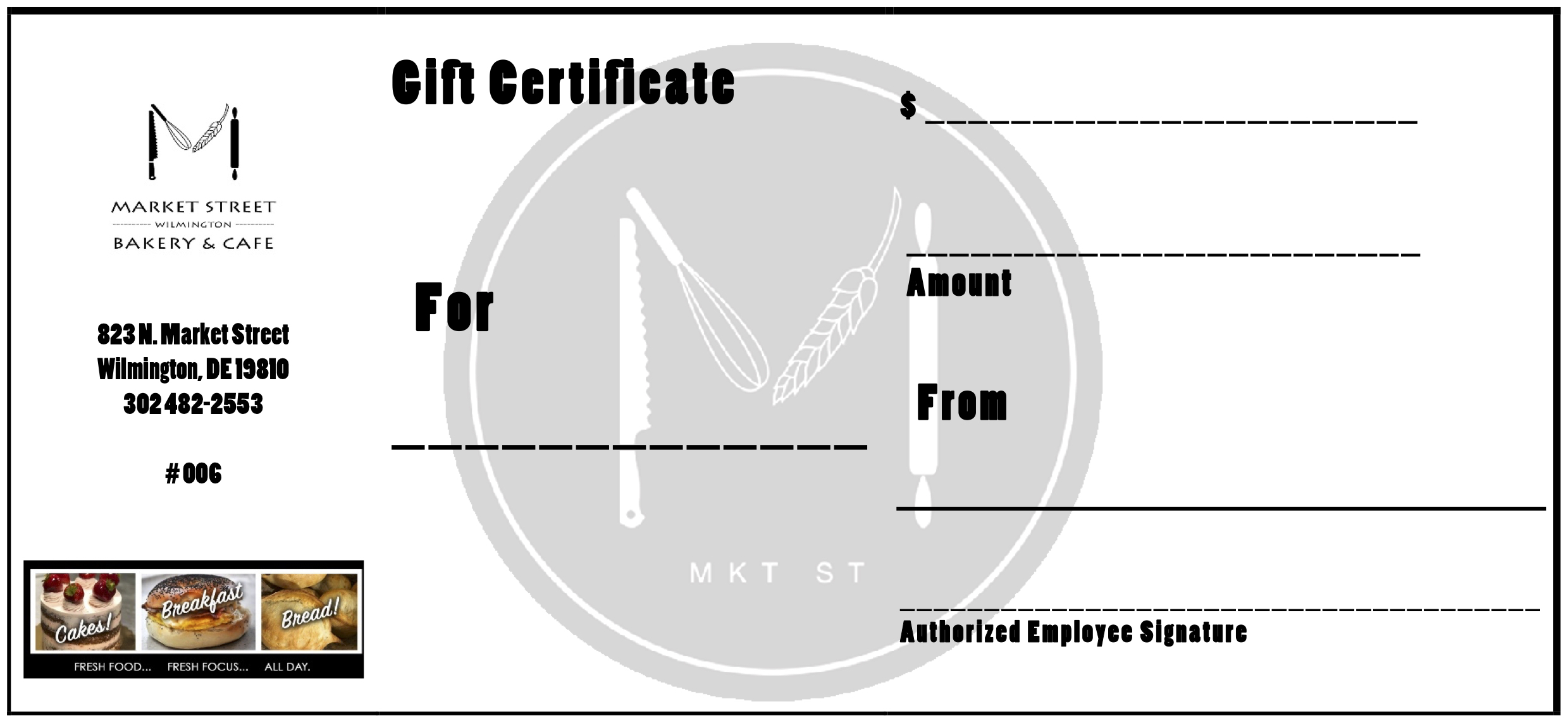 GIFT CERTIFICATES - NOW AVAILABLE FOR IN STORE PURCHASE!