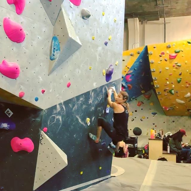 Another awesome Woman up Festival! Thanks @touchstoneclimbing for hosting.😸 Although last year I competed in the finals of the Open Competition, this year I decided not to compete but was super psyched to climb on the comp climbs that were thoughtfully set by an awesome crew of all female setters from around the country. I climbed for hours with old friends and had a blast. This was my favorite climb of the day and I was psyched to flash it, then even managed to repeat it for the video. The kids I coach will appreciate this.😹 Events like Woman Up remind me the sport is evolving and it's important to understand and embrace the change, but still respect the past which paved the way for the future. Lots to think about after our panel discussion!  Psyched for next year!  @synergyclimbingteam  @dogpatchboulders #tbastrong #synergyclimbing #synergyclimbingteam
