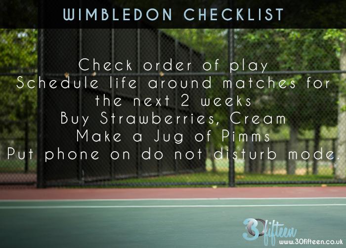 WIMBLEDON CHECKLIST by 30Fifteen