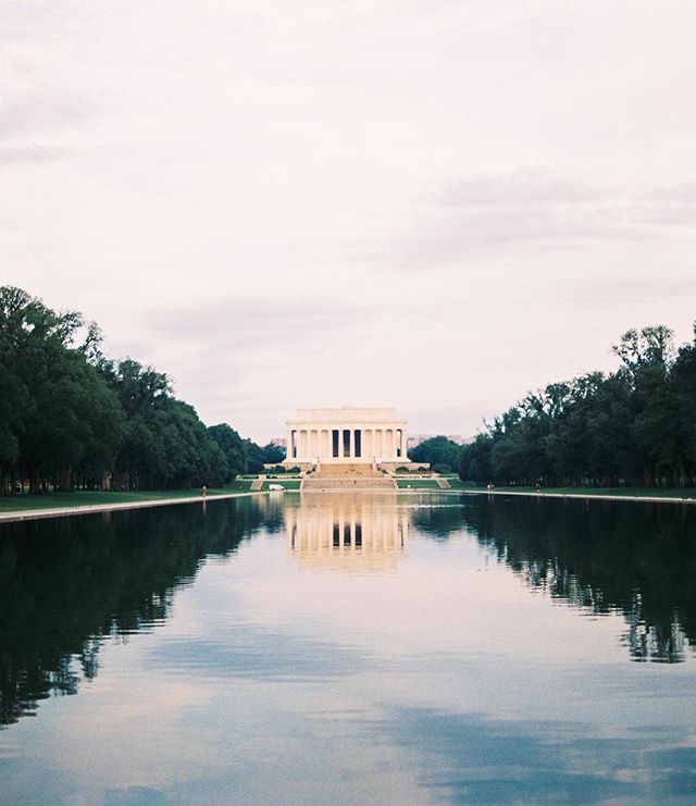 Reflecting Pool in DC... reflecting the Lincoln Memorial.  I love DC for its architecture, and its history. ❤️