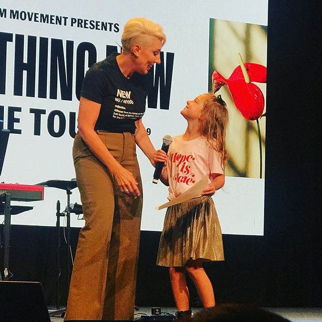 "So MANY HIGHLIGHTS from last night, but this right here will forever go down as my favorite • I watched as my daughter bravely took the stage in front of hundreds of women, to read WHAT SHE WROTE, because she wanted to encourage the women to walk in something new. • My favorite line? • ""I know somedays the something new you are in can be sad, but I want you to know I am here to be your friend."" • The #somethingnewtour may have ended but the legacy of this safe space will continue on in my daughter, in my team, in my heart, and IN YOU! • If God wants to do something new in your life, SHARE IT! You are the weapons God will use to bring forth healing. • Thank you for helping this misfit girl see a GOD GIVEN dream come to fruition. YOU ALL have been a weapon for me."