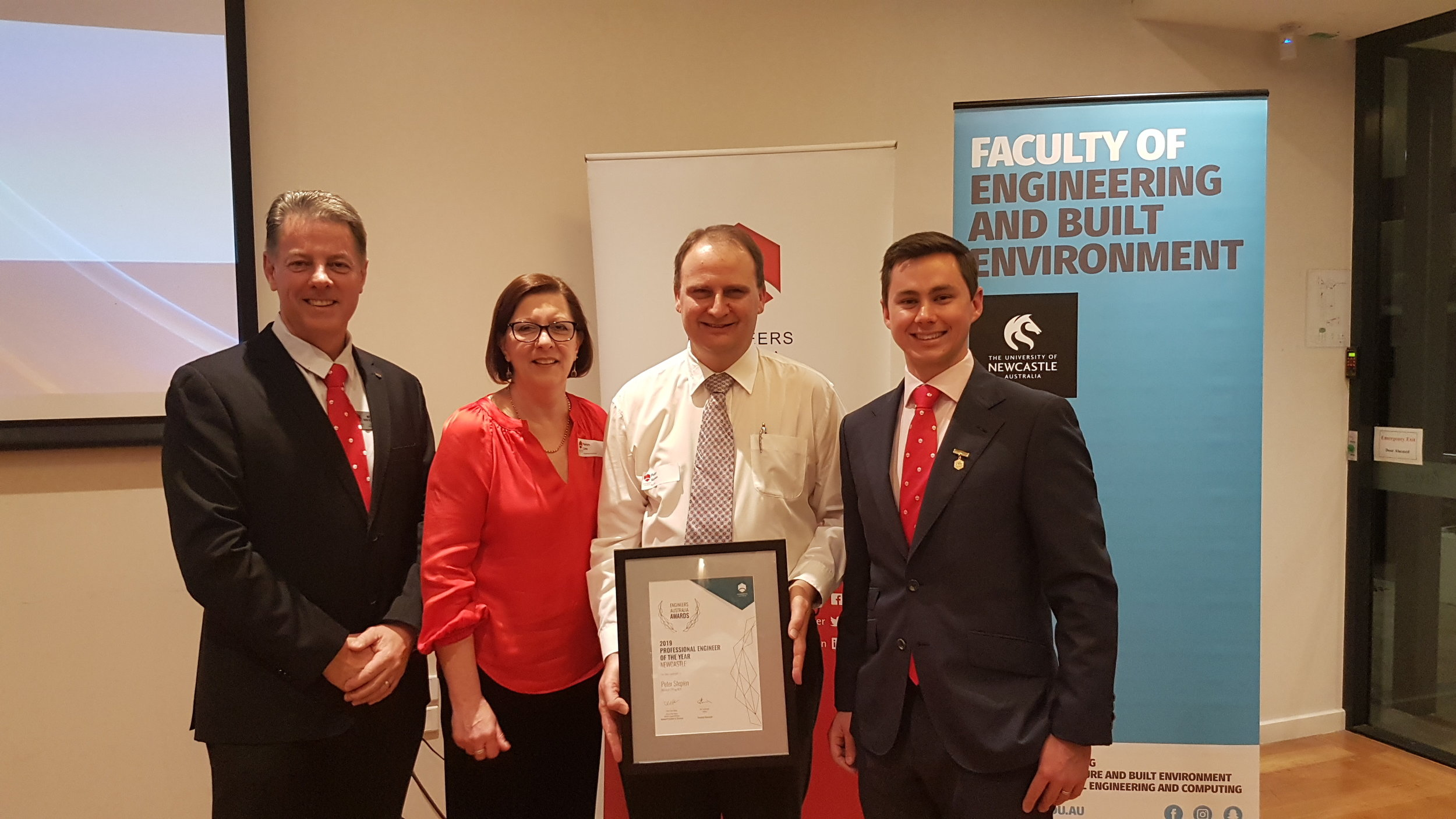(L-R) -Michael van Koeverden, Director CQT Services, Helen Link, General Manager - Newcastle Engineers Australia, Peter Stepien - ResTech, Joe Townsend, 2019 Division President