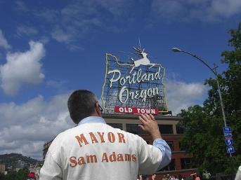 "The former mayor of Portland, Oregon in one of his two parade shirts. ""Mayor Sam Adams"" on back in hand-created font."