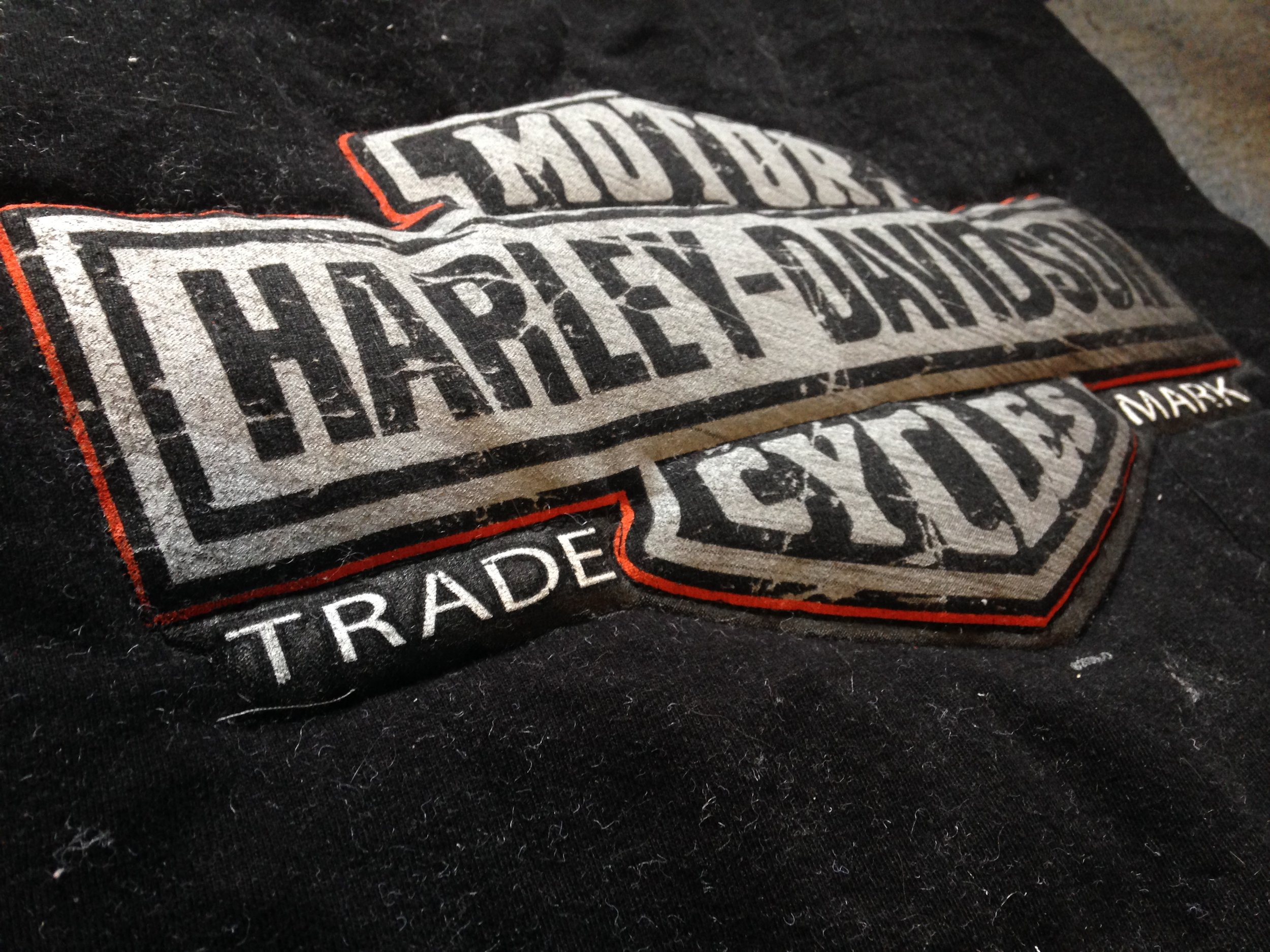 Closeup of Harley Davidson T-shirt quilt, showing Trapunto technique