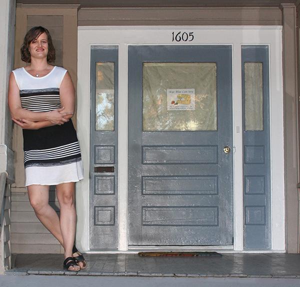 The fiber artist, Skye Blue, outside her home studio in Portland's Hawthorne neighborhood