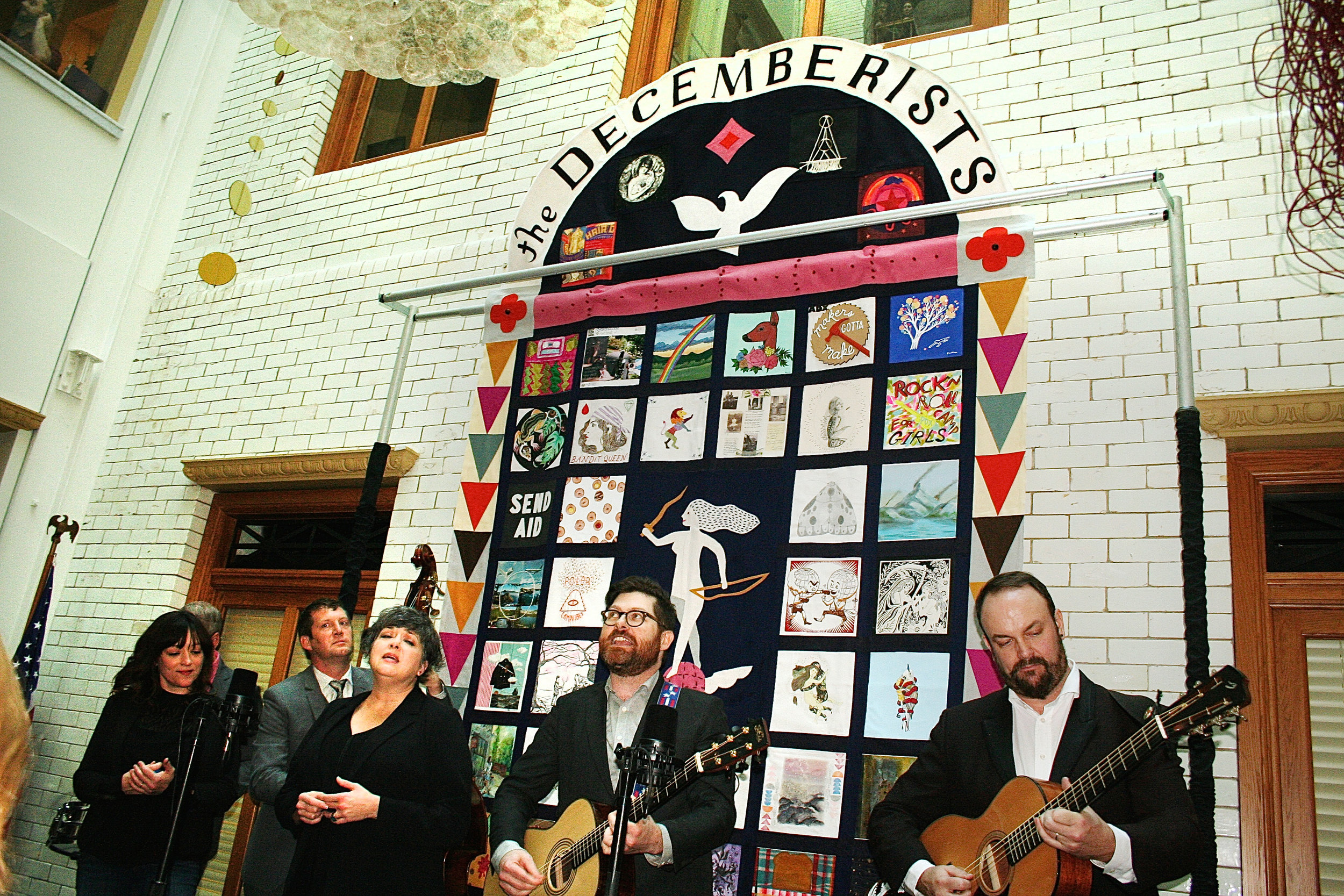 Art quilt displayed at Decemberists' Day celebration and proclamation at Portland City Hall