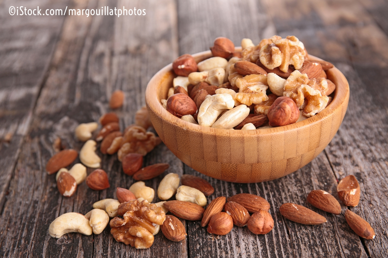 """Feb. 2018 -    Nut consumption may aid colon cancer survival    - """"The study followed 826 participants in a clinical trial for a median of 6.5 years after they were treated with surgery and chemotherapy. Those who regularly consumed at least two, one-ounce servings of nuts each week demonstrated a 42% improvement in disease-free survival and a 57% improvement in overall survival."""""""