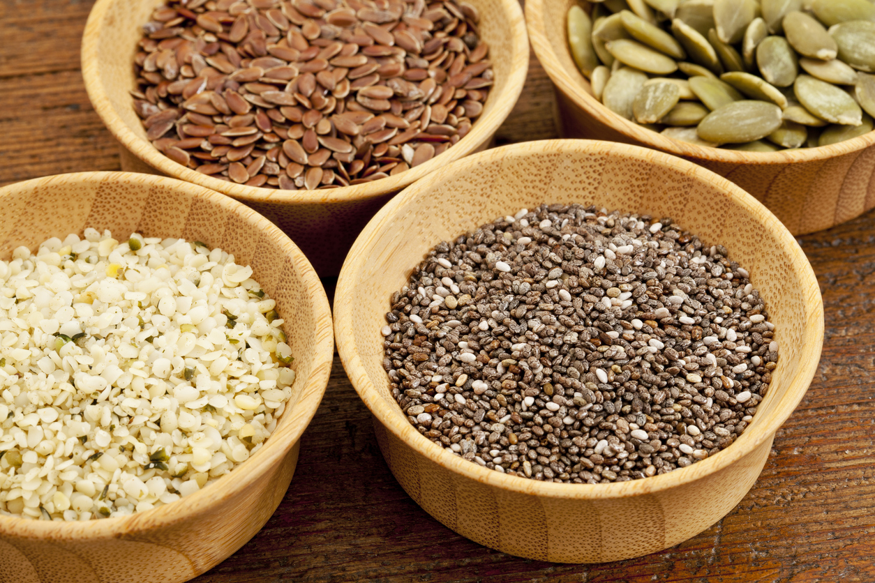 The Health Benefits of Popular Seeds    -  Real Simple Magazine  Learn the health benefits of Chia, hemp, flaxseed, pumpkin, sesame, and sunflower seeds.     Are store-bought pre-ground flaxseeds as nutritionally effective as buying whole seeds and grinding yourself?    -  EatingWell Magazine