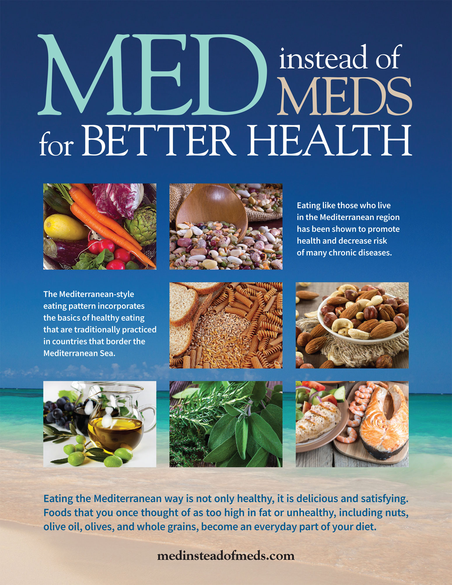 Med Instead of Meds    is a site created by nutrition and health professionals from NC State University & NC Division of Public Health and covers everything you need to know about the Mediterranean Diet as a lifestyle eating plan.