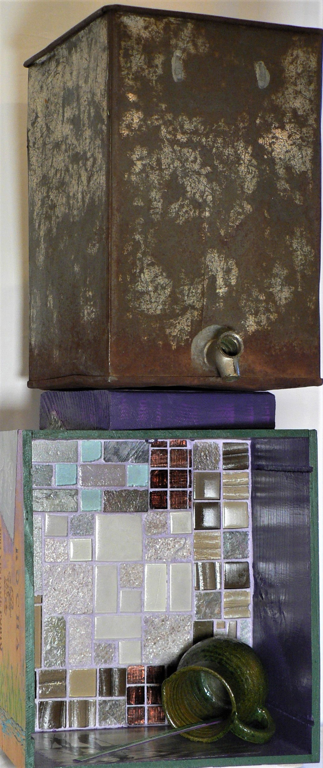 """The Water Tower - """"There is no small pleasure in pure water."""" – OvidMaterials: Wood wine box; vintage water dispenser; ceramic tiles; black and white water images (Genesis, Lisa Salgado & Sebastiao Salgado); ceramic pitcher (Oaxaca); acrylic paint. Dimensions: 27""""H x 11""""W x 7""""D. Created: April 2019.Status: For Sale ($250)"""