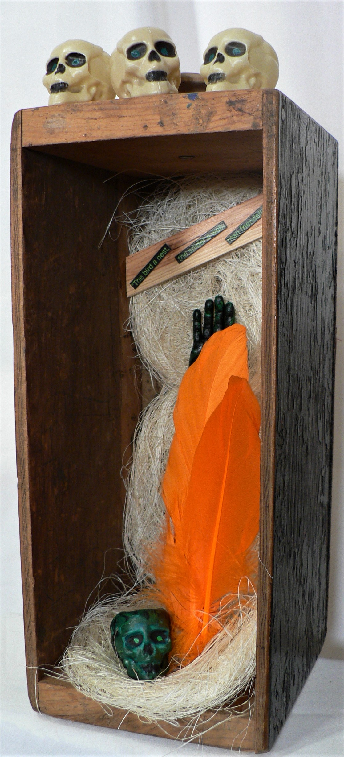 """Untitled - """"The bird a nest, the spider a web, man friendship."""" -- William BlakeMaterials: Wood tool drawer; loofah scrubbers (Mexico); plastic hand; plastic toy skulls; feathers. Dimensions: 14""""H x 5.5""""W x 6.5""""D. Created: August 2019.Status: For Sale ($75)"""
