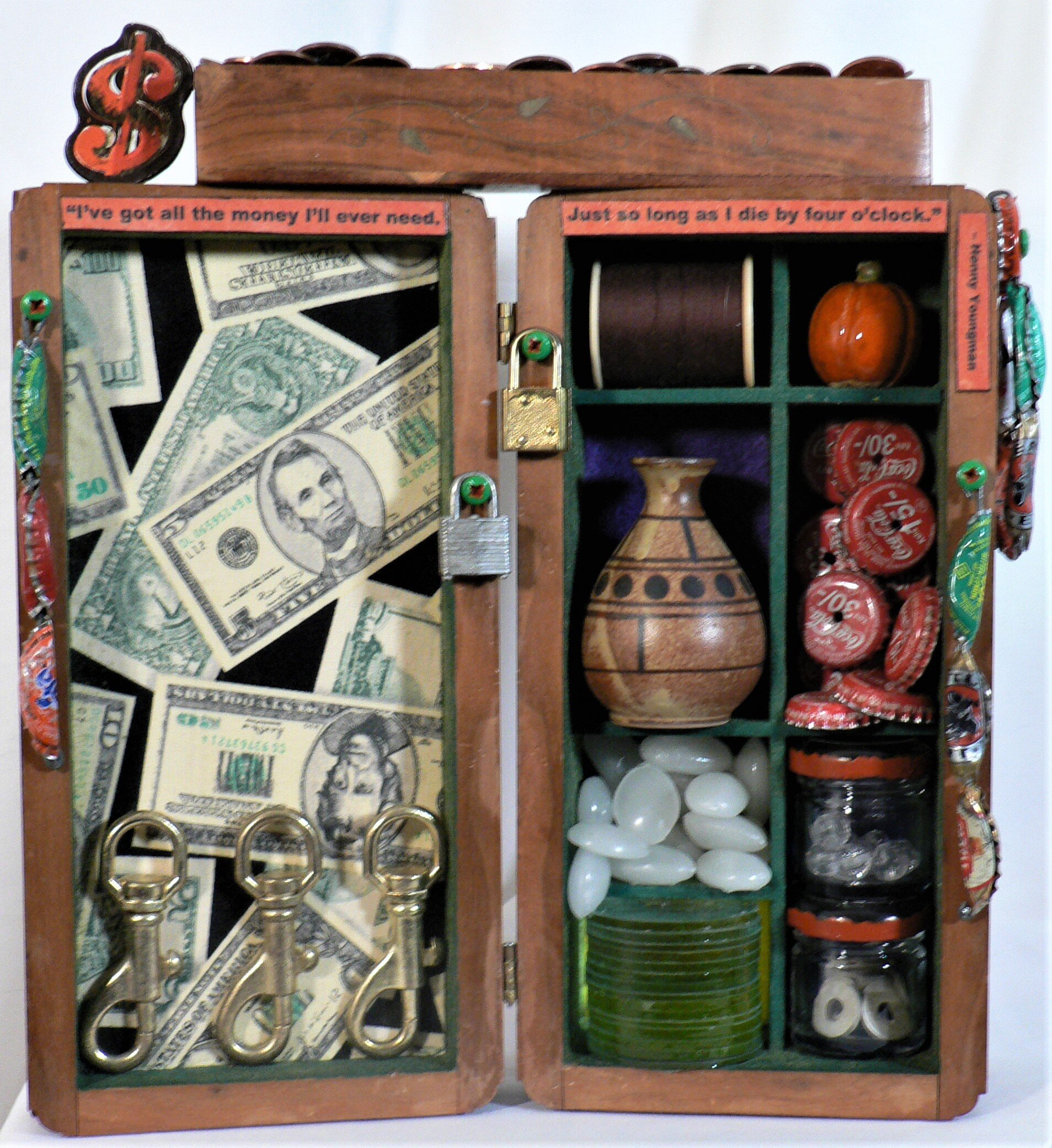 """Mercado - """"I've got all the money I'll ever need. Just so long as I die by four o'clock."""" – Henny YoungmanMaterials: Man's dresser caddy; cotton textile print; ceramic pumpkin; white glow-in-the-dark decorative rocks; glass track light lens; ceramic bud vase; soda pop caps; thread; metal washers; plastic beads; spice jars; coins; dog leash turnbuckles; metal padlocks; acrylic paint.Dimensions: 11""""H x 11.5""""W x 3""""D. Created: September 2019.Status: For Sale ($100)"""