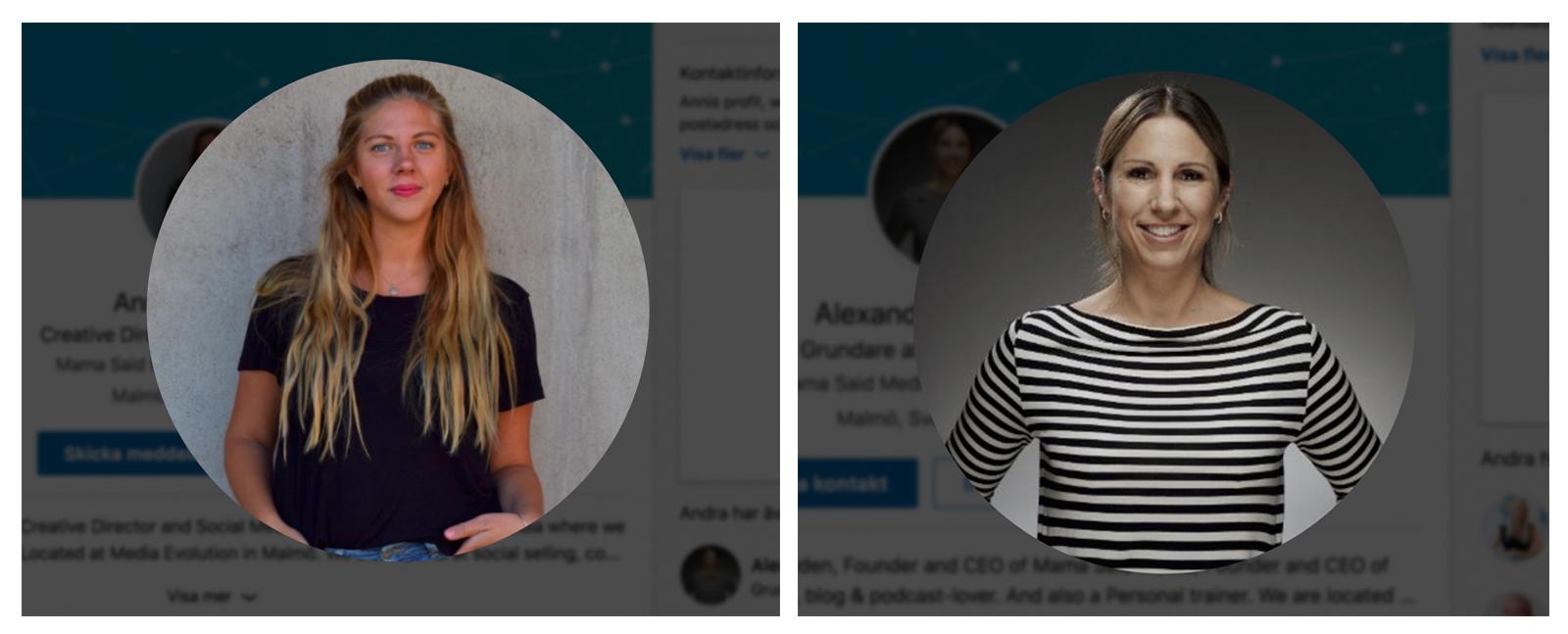 Såhär ser profilbilderna ut på Annis och Alexandras konton, två bra exempel!