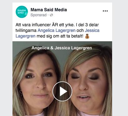 Såhär kan den färdiga annonsen för inlägget se ut.