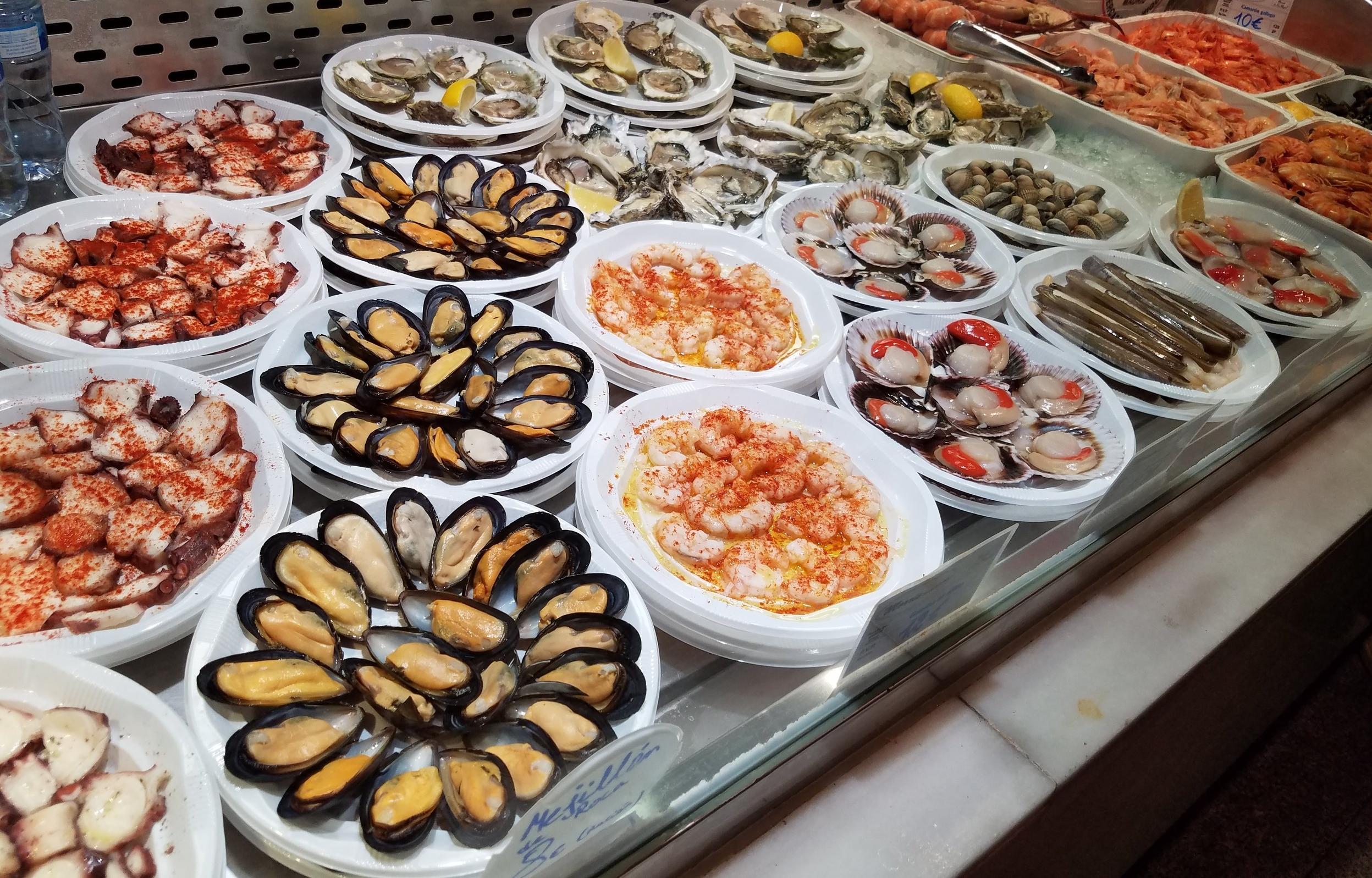Seafood spread at Mercado de San Miguel