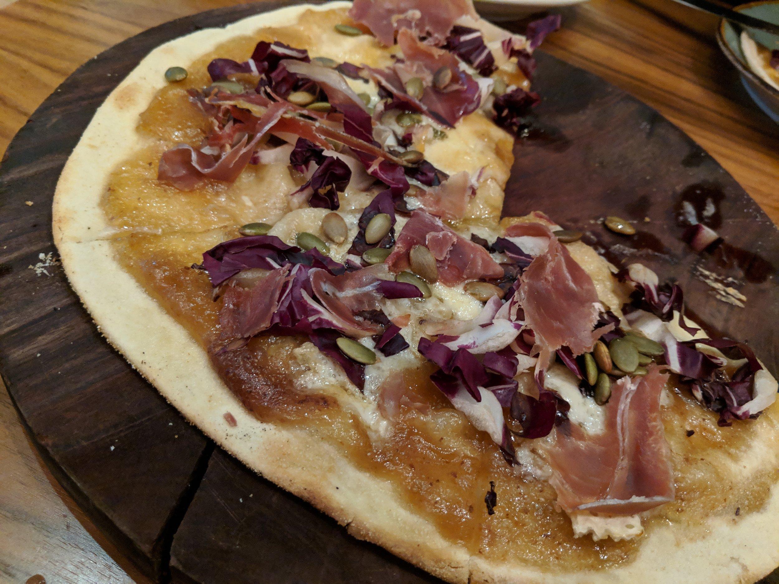 Serrano ham pizza