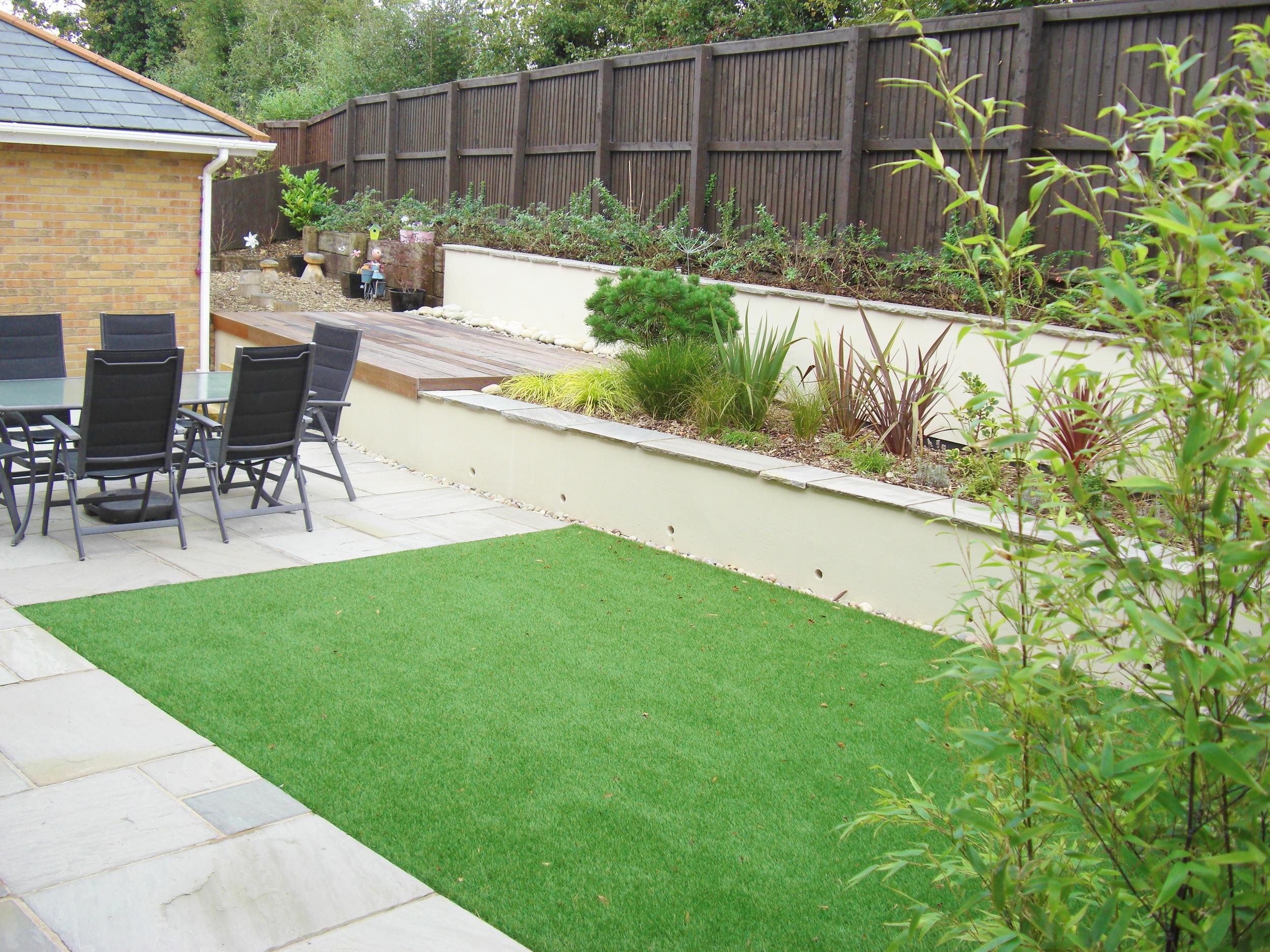 Modern garden with artificial grass