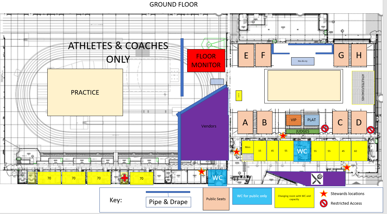 Proposed layout of the competition arena    The judges seating will only be accessible by the judges and organising committee via separate stairs, and come with dedicated toilet facilities only a few meters away from the judging area, judges room and VIP room.  Athletes take the floor directly from the practice gym area, with very easy access to the changing facilities. 11 of the changing rooms are very large and have their own WC and showers, the average size holding 70 people. There are also separate smaller male and female only overflow changing rooms also with WC/Shower.
