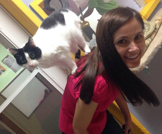 Oreo with Jeanette Skaluba at Homeward Bound Pet Shelter (HBPS).